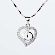 Silver Jewelry Sterling Silver CZ Love Journey Heart Pendant Necklace