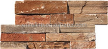 mixed color strip stacked natural stone culture slate wall tile