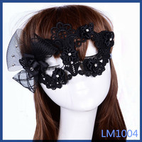 2016 dubai hot sale lovely style in stock wedding and party decoration flower black lace mask