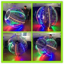 Brand New Amazing 100% PVC/TPU LED soccer bubble, LED glowing bubble ball, human sized football bubble ball
