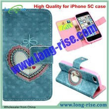 High Quality Love Heart Pattern Flip Leather Case Cover for iPhone 5C Case with Card Slot