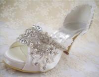 Handmade Lace Rhinestone Wedding Shoes Peep Toe Bridal Shoes 2.5-4 inches Heel high/Size 4.5-10