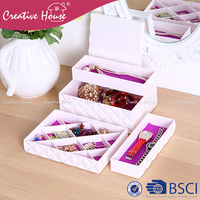 New design Chinese handmade PS/ ABS home organizer adjustable storage jewelry / necklace / ring / watch box case S/5 for gift