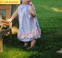 2015 OEM summer giggle moon remake long dress Girls Solid Cotton Chevron smock Dresses Boutique Toddler Girls Dress