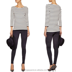 wholesale products in alibaba fabric cotton blue and white striped long sleeves women 100 cotton top