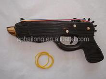 Animal head wood rubber toys guns for kids