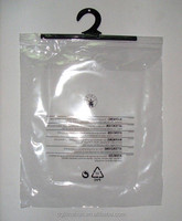 high quality LDPE clear Clip Close Handle bags plastic hook garment