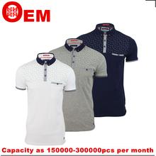 mens button down collar printed small fish short sleeve polo shirt
