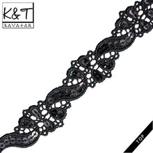 African Cord Lace Fabric Sequin Nylon for New Style Dresses/Bangladeshi Saree Lace Ribbon