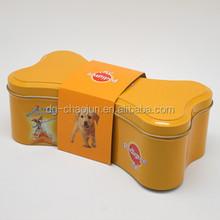 customized design dog shape dog cookie packaging tin box