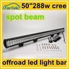 dual row 288w cree 4x4 offroad 50 inch led light bar