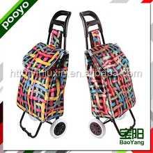 shopping handcart fashion reusable pp woven shopping bags