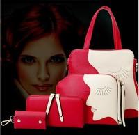 2015 New 3 PCS SET American style lady handbag with head buy 1 get 3
