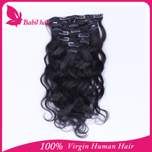 ali express high quality double drawn one piece clip in curly human hair extension