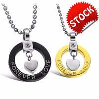 "Fashion ""Forever Love"" Couple Heart Necklace Wholesale 316L Stainless Steel Couple Jewelry"