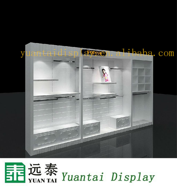 High end wall wood clothing display shelf for store for Showcase shelf designs