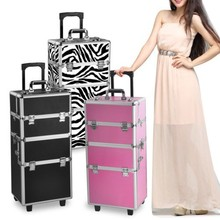 Pro 2 in1 Aluminum Travel Rolling Makeup Cosmetic Train Case Wheeled Box