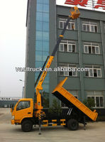 Dongfeng dump truck with 2-10T crane on sale