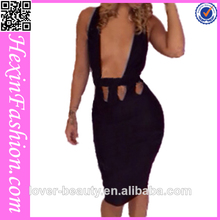 venta al por mayor estilo tramo bodycon negro vestido