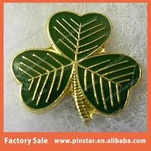 Gold Tone Green Soft Enamel Shamrock Flower Pin Badge with Clear Epoxy Coated