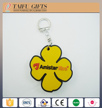 OEM design Four Leaf Clover soft pvc rubber Keychain
