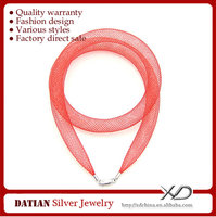XD MF029 8mm Multicolor Net Fabric Red Rope Necklace with 925 Sterling Silver Clasp