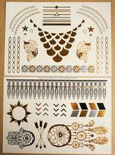 New pretty Metallic Temporary Tattoo Flash Gold Silver Black Tattoos Body Art