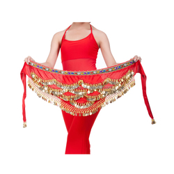 Bestdance red belly dance hip scarf belt women bellydance hip belt waist chain belt with gemstone and gold coin OEM