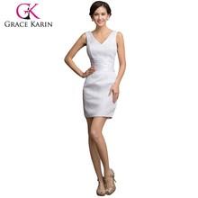 Grace Karin 2015 Latest Designer Sleeveless Short V-neck White Lace Evening Dresses Alibaba China CL7523