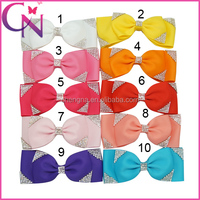 New Arrival Baby Rhinestone Hair Bows Handmade Ribbon Hairpin For Kids Girls Hair Bow With Clip(CNHBW-14111502)