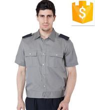 Mens ropa de trabajo guardias de seguridad uniforme de manga corta de diseño personalizado y logotipo