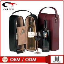 Wholesale hot sale 2 bottle leather wine carrier