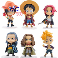 Anime Toys Q Version Mini One Piece Figurine Craft Red Hair Pirates Car Dashboard Toy