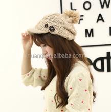 Acrylic knitted brimmed beanie hats girls winter caps witn ball on top women winter chunky headwear