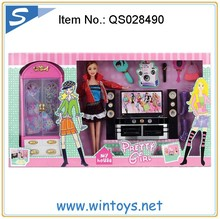 fashion plastic girls doll sets with music and tv chest