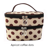 Double-deck Fashion Cosmetic Hand Bag Cute Dot Toiletry Totes Bag Women's Make-up Case