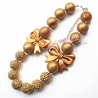 2015 Statement necklace with Butterfly Knot Pendant Fashion jewelry girls chunky necklace