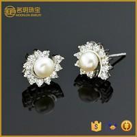 best jewelry stores !100% 925 sterling silver pearl earrings !