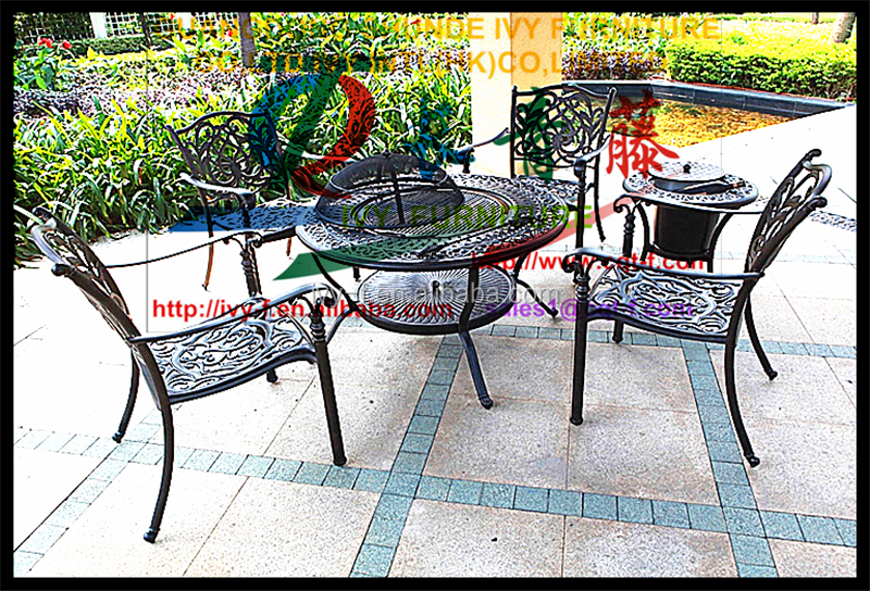 Indoor Outdoor Alu With Pe Wicker Rattan Rectangular Fire