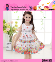 Hot ! Fashion High Quality Floral Printed Sundress Bowknot Flower Dresses For Girls 11 Of Years Old
