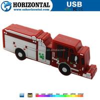 special design fire engine pen drive,custom novelty wholesale cute cartoon usb flash drive, fire fighting truck shaped usb disk