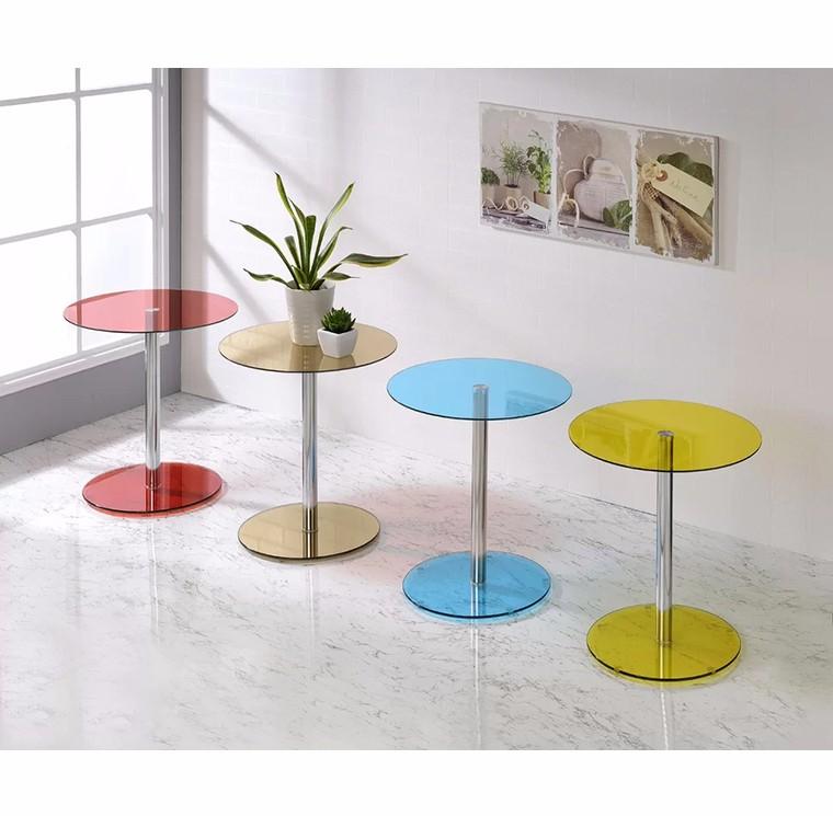 Estilo moderno redondo mesa de centro <span class=keywords><strong>superior</strong></span> de cristal con aleación de aluminio mesa de las piernas