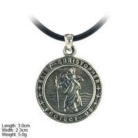 Traveler Gift Silver Saint Christopher Pendant,Charm 925 Sterling Silver Oxidation PSA0959
