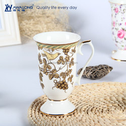 Golden Bird Painting Western Design Ceramic Cup With Printing Decal, Fine Bone China Mugs
