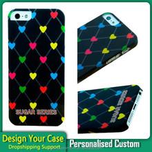 Custom Peach Hearts case logo for iphone5 ,customized logo case for iphone5