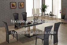 Marvelous Black Painting Brushed Stainless Steel Table and Chairs Furniture 6-8 Seaters Available AL808E-1