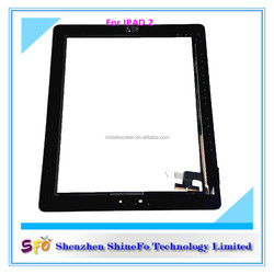 For iPad 2 Touch Digitizer Glass Screen With Adhesive Strips + Home Button +