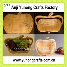 100% Bamboo Made Apple Shape Folding Fruit Basket