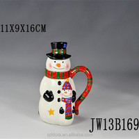 new arrival Christmas Snowman Artistic Ceramic Cup/unique High Quality snowman design coffee mug