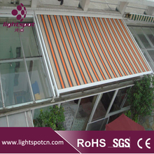 Retractable roof waterproof canvas outdoor balcony awning systems